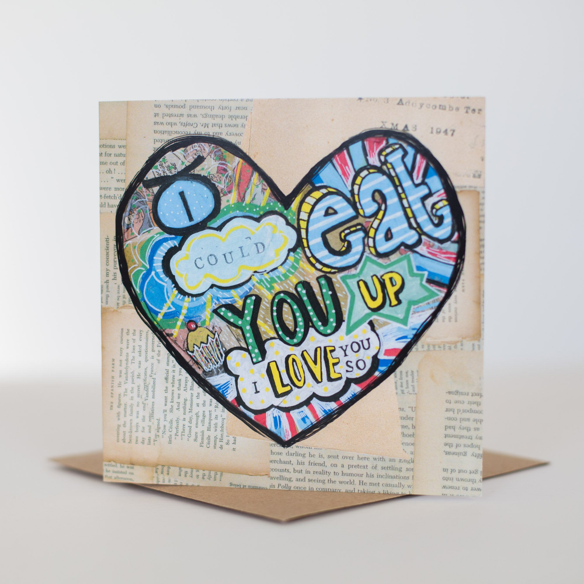 'Eat you up I love you So' Greetings Card