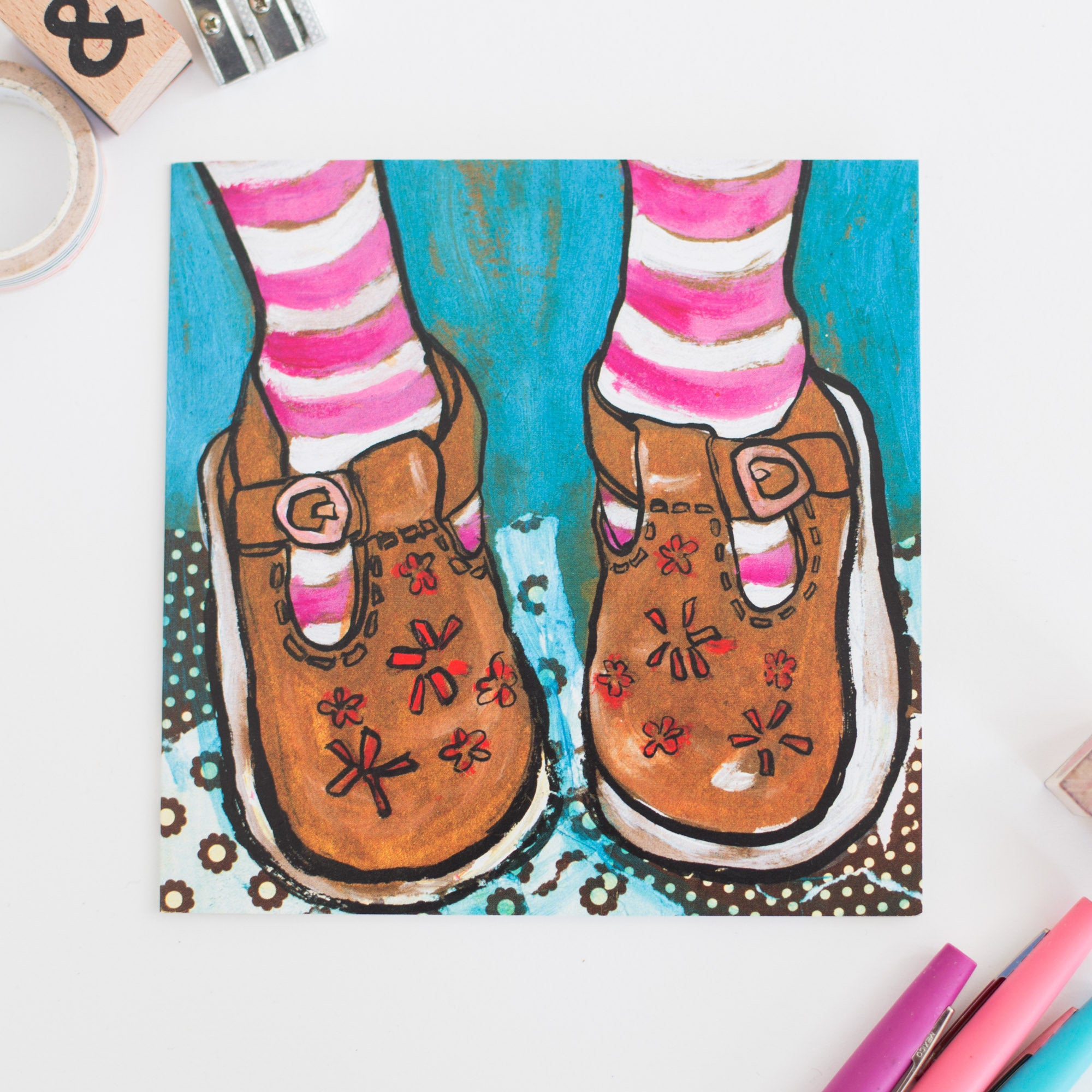 'Gold Shoes' Greetings Card