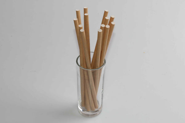Pailles en papier Ø 5 x 135 mm en kraft naturel, 100% ECO - 250 pcs / boîte distributrice - Hellostraw-shop.eu