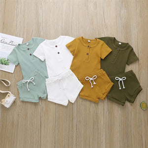 Babyified Casual Solid T-Shirt and Shorts Set