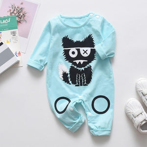 Babyified Cute Cat Cartoon Sleep Suit Babyified Apparels eprolo Blue 3-6 Months