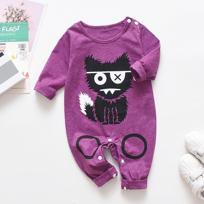 Babyified Cute Cat Cartoon Sleep Suit Babyified Apparels eprolo Purple 3-6 Months