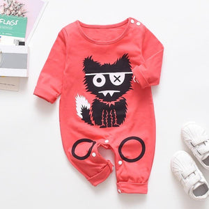 Babyified Cute Cat Cartoon Sleep Suit Babyified Apparels eprolo Red 3-6 Months