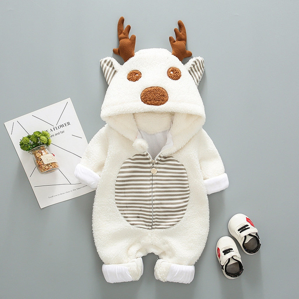 Newborn Baby Boy Girl Romper Fleece Cartoon Winter Warm Jumpsuit Hooded Coat Outwear Clothes Casual Long Sleeve Romper Jumpsuit