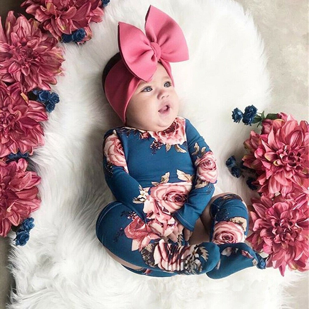 Toddler Baby Girls Flower Print Romper Infant Kids Lovely Casual Jumpsuit+Leg Warmer Outfits Clothes Children Newborn Winter Set