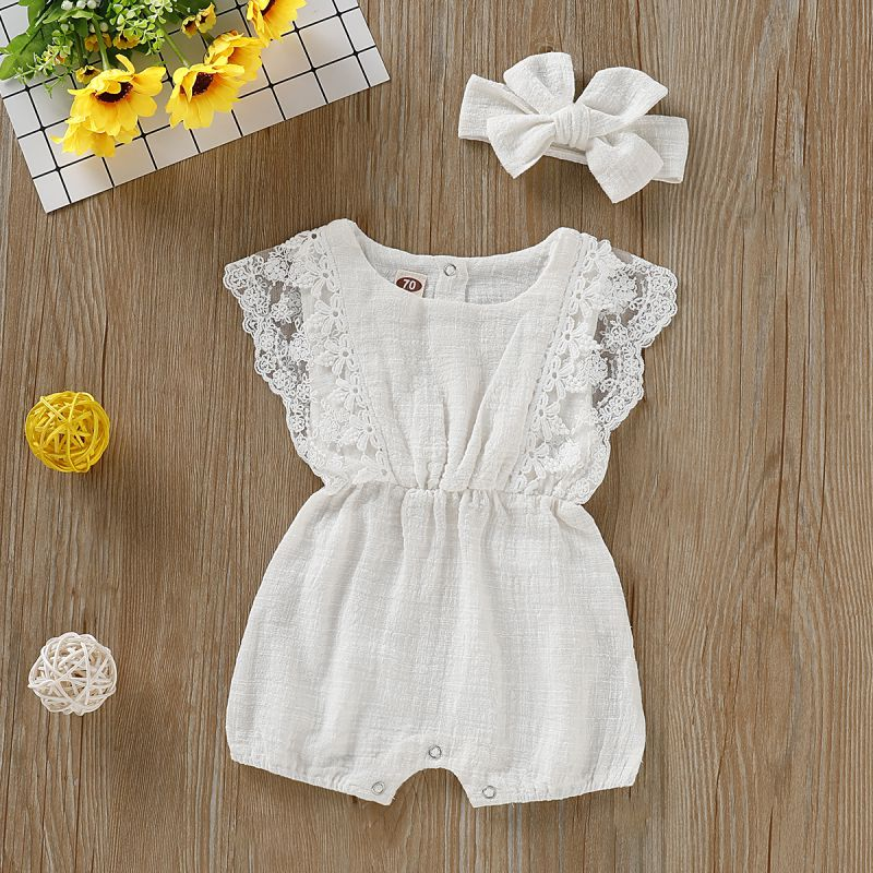 Babyified Lace Romper with Headband