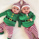 Christmas Baby Winter clothes  Long Sleeve Romper+Striped Print Pants+Headband Set Newborn clothing costume for girls kids cloth