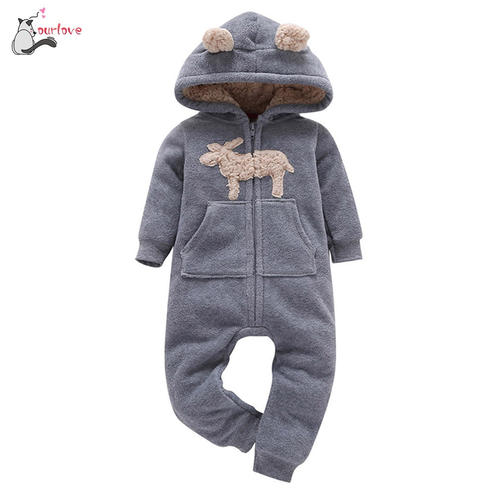 2019 baby boy winter clothes warm Infant Baby Boys Girl Thicker Print Hooded fleece Romper Jumpsuit Outfit Kid gray soft Clothes