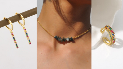 Gold Earrings Necklace Ring With Rainbow Color Zirconia