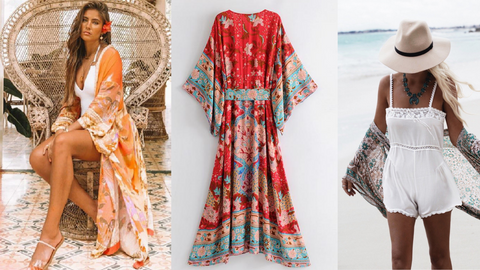 Colorful Flower Print Bohemian Design Beach Robes and Loungewear
