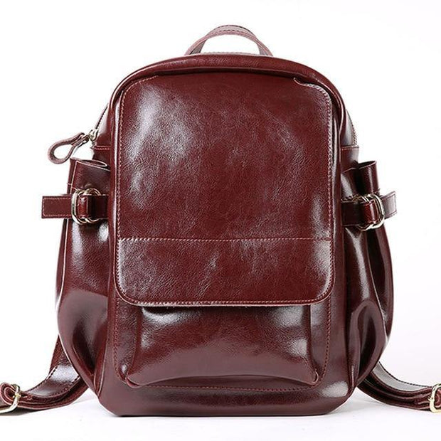 ADITHA Genuine Leather Mini Backpack Purse - red