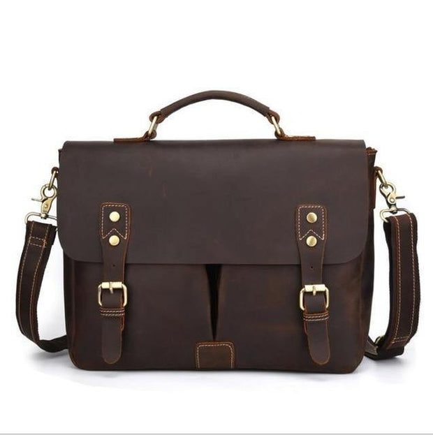 ALIAN Genuine Leather Briefcase - dark brown