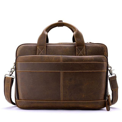 AUWEN Genuine Leather Shoulder Laptop Bag