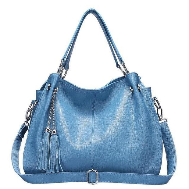 BENZA Genuine Leather Blue Handbag