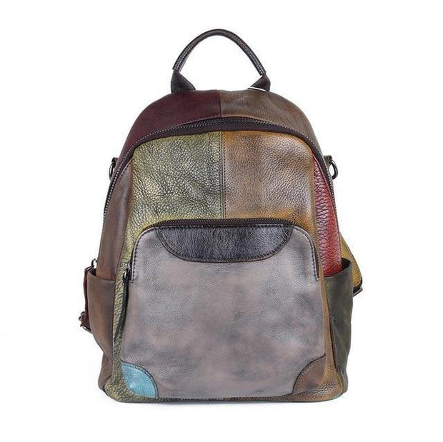 BIANCHA Genuine Leather Small Backpack - Patchwork