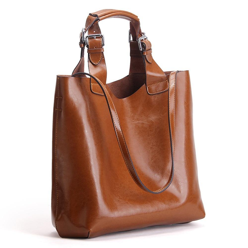 BODIA Genuine Leather Tote Handbag - brown