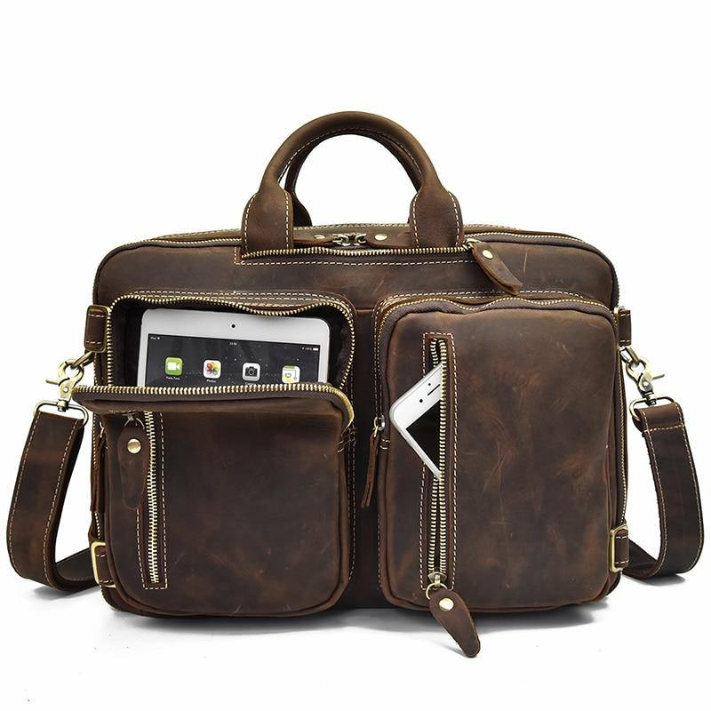 CHAG Genuine Leather Briefcase - brown