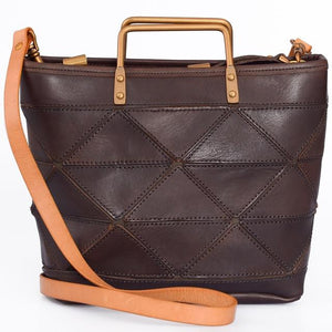 Open image in slideshow, CYNDRA-Genuine-Leather-Handbag-Brown