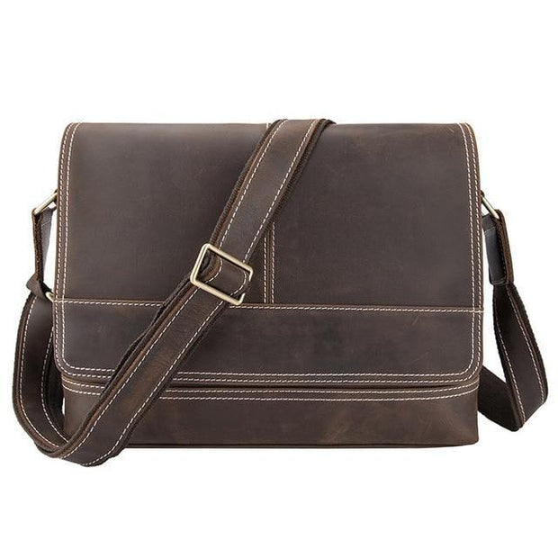 DWAIN Genuine Leather Messenger Shoulder Bag - brown