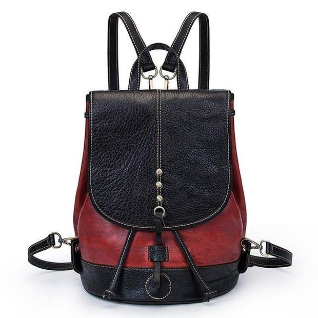 EZERA Vintage Genuine Leather Backpack - red