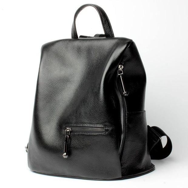 FIOLLA Genuine Leather Anti Theft Backpack  - black