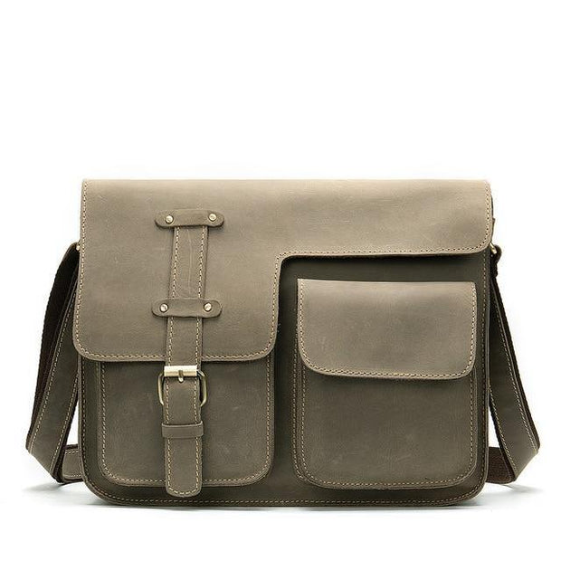 KECKER Men's Genuine Leather Shoulder Bag - gray
