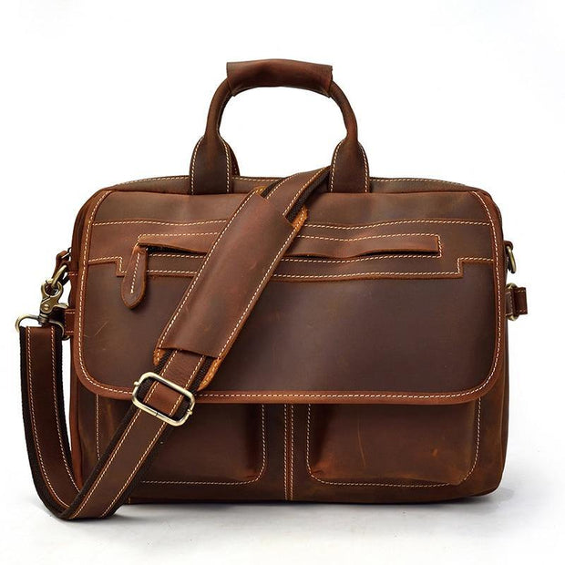 LAVEN Genuine Leather Briefcase - brown
