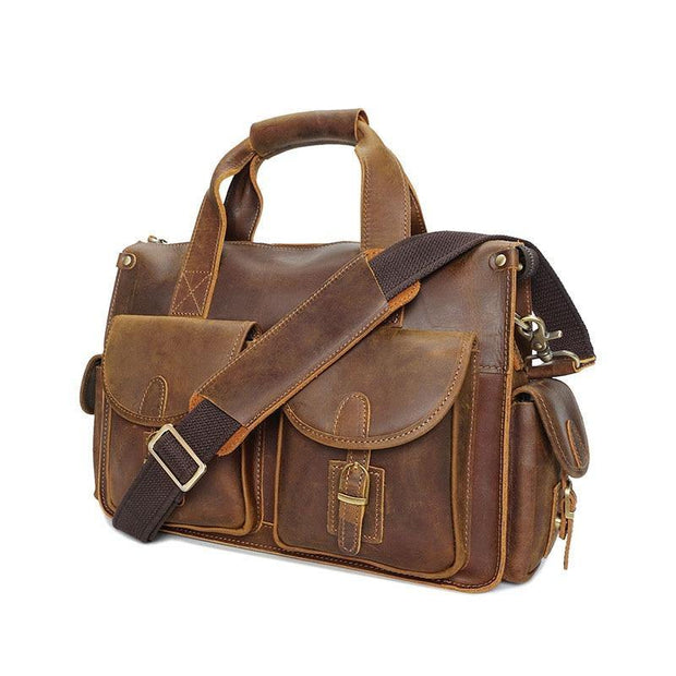 LIADEN Genuine Leather Laptop Briefcase - brown