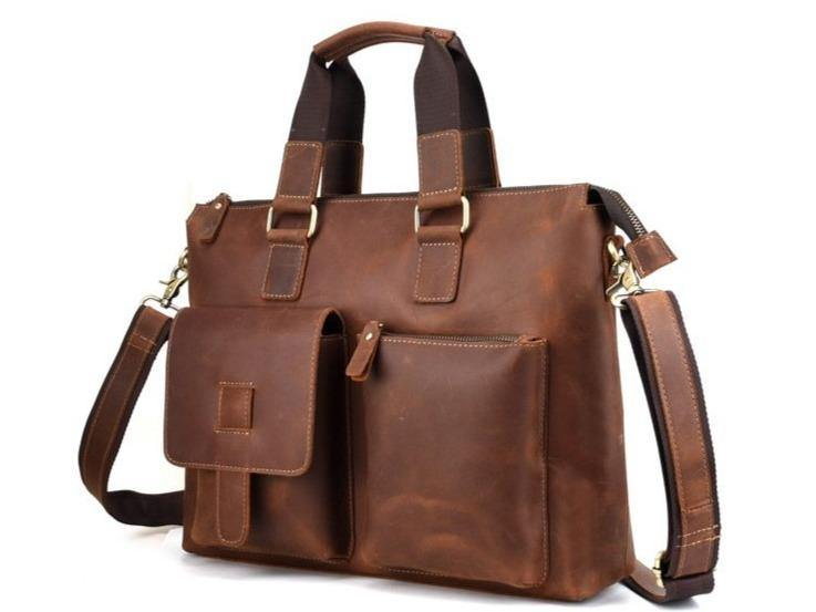 LOVEN Genuine Leather Briefcase - brown