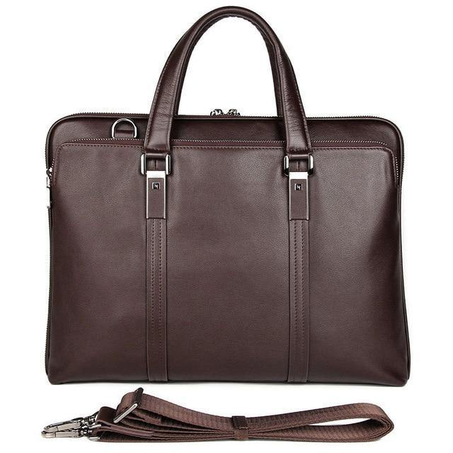 PRISWEN Genuine Leather Briefcase - brown