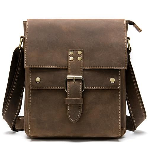 REID Men's Genuine Leather Shoulder Bag - brown