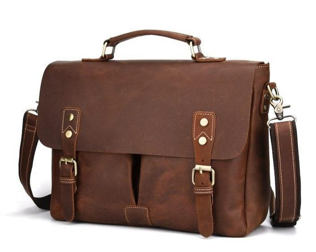 REVEN Genuine Leather Briefcase - brown