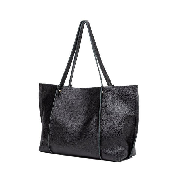 SHAYA Black Genuine Leather Tote Bag