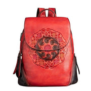 SIDES Vintage Genuine Leather Backpack - red