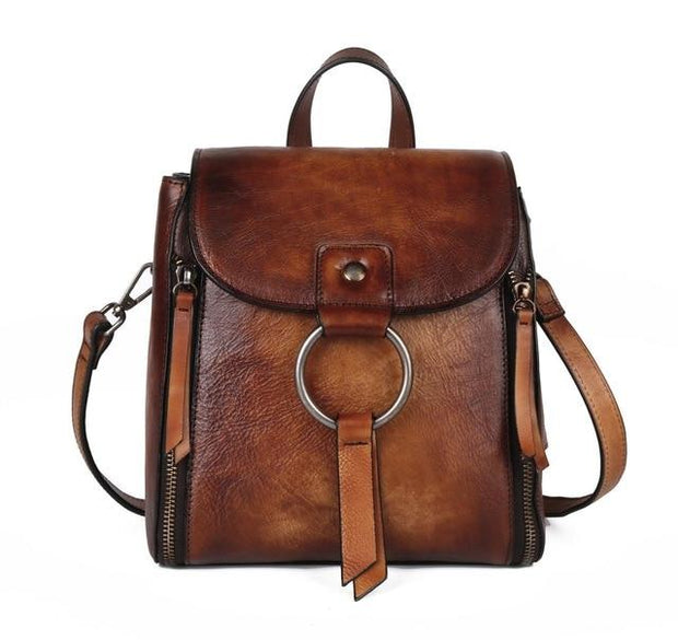 ULOA Tan Genuine Leather Backpack