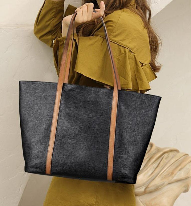 WILLA Genuine Leather Large Tote - black