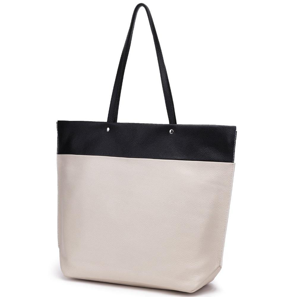 WINELA Genuine Leather Tote Handbag - black and white