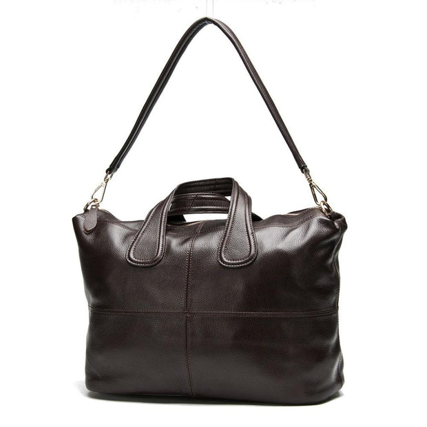 ZERRA Genuine Leather Tote Handbag - brown