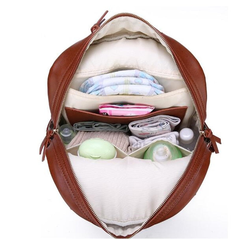Genuine Leather Diaper Backpack SELA