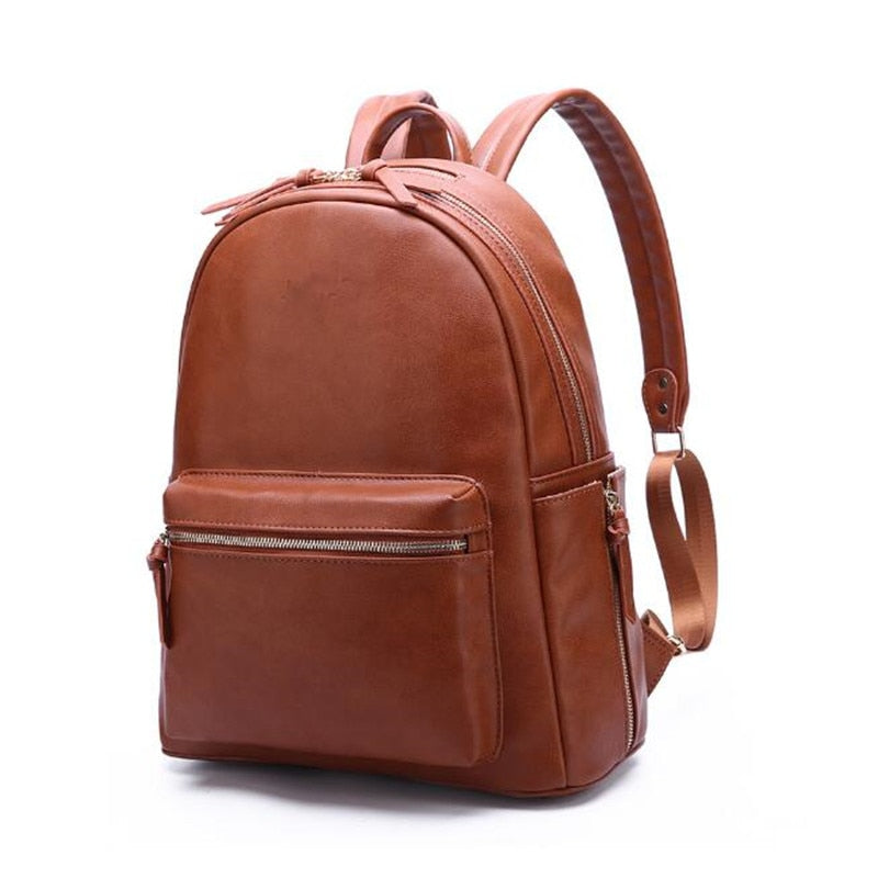 Genuine Leather Diaper Backpack SELA - Brown