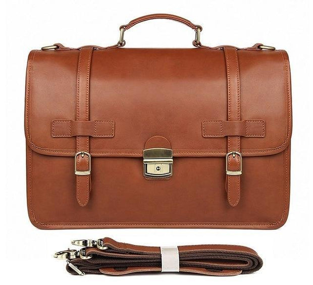 RELLAN Genuine Leather Briefcase - brown