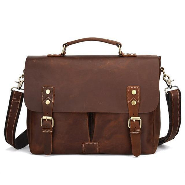 ALIAN Genuine Leather Briefcase - brown