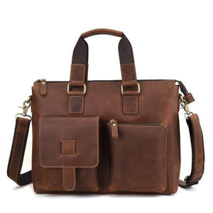 Open image in slideshow, LOVEN Genuine Leather Briefcase