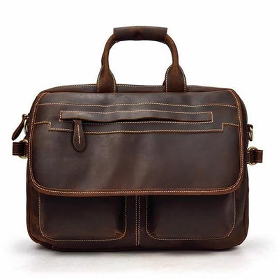LAVEN Genuine Leather Briefcase - dark brown