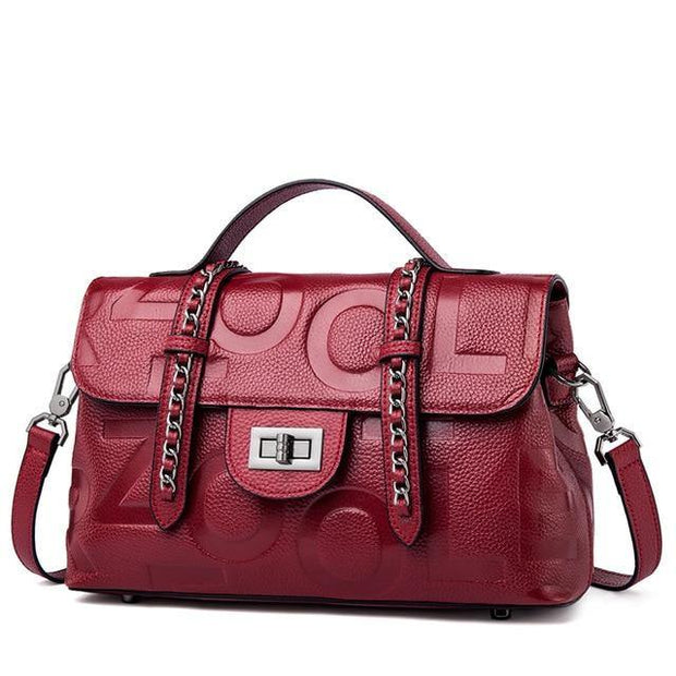 HUTTA Genuine Leather Crossbody Handbag - red