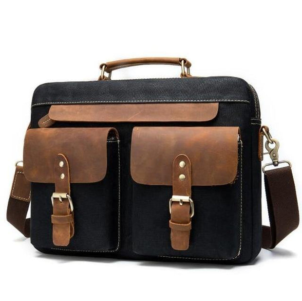 BRADMOR Genuine Leather Briefcase  - black