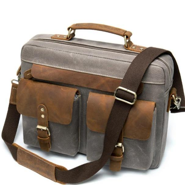 BRADMOR Genuine Leather Briefcase - grey