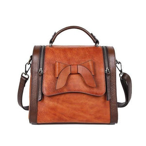 Open image in slideshow, KELIA Genuine Leather Handbag - brown