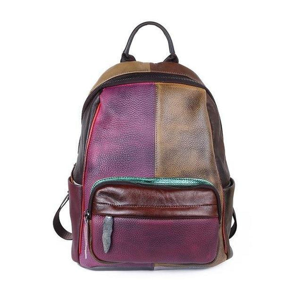 BIANCHA Genuine Leather Small Backpack - patchwork 1