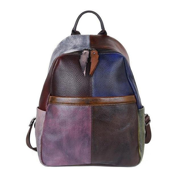 BIANCHA Genuine Leather Small Backpack - patchwork 2